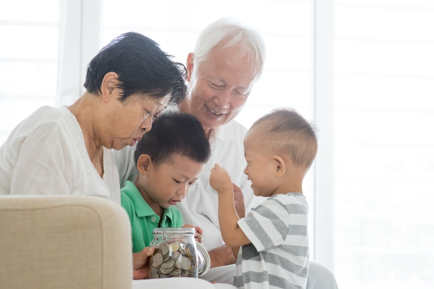Family saving money and banking